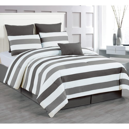 7-Piece Striped Reversible Bedding Comforter Set
