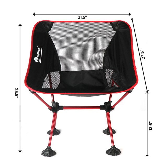 BIGTREE Travel Chair Side Pocket Super Compact Light Folding Camping Fishing Picnic Hiking Seat Companion Backpack Size Travel Bag Red