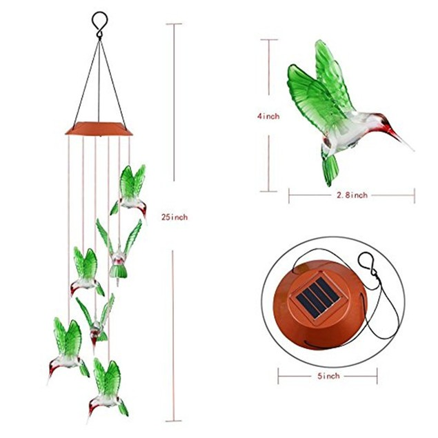 Color Changing LED Solar Wind Chime Hummingbird Wind  for Garden Lighting