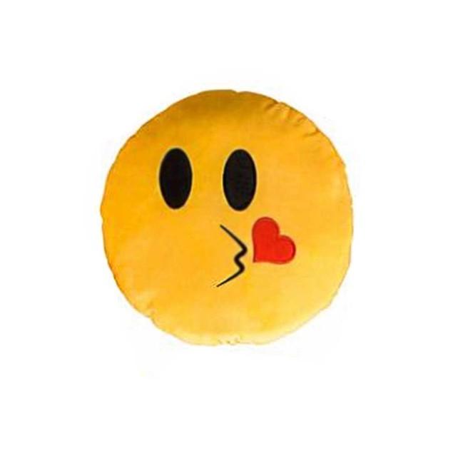 Kiss Face Yellow Emoji Pillow