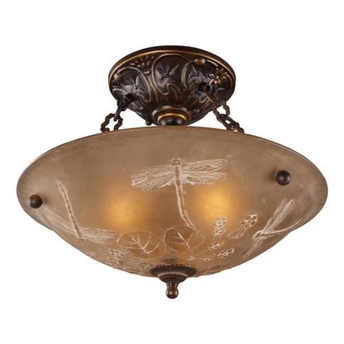 "Restoration Flushes 3 LT Semi Flush In Antique Golden Bronze - 16""W"