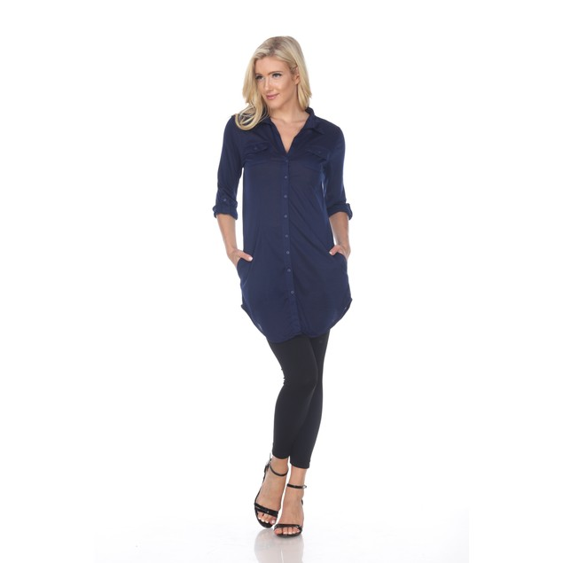 Lakota Stretchy Button-Down Tunic Top - 5 Colors - Extended Sizes