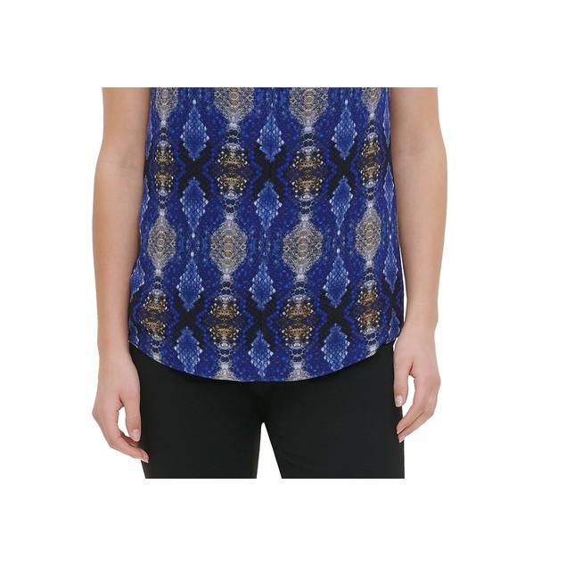 Calvin Klein Women's Printed Twist Neck Sleeveless Top Blue Size X-Large