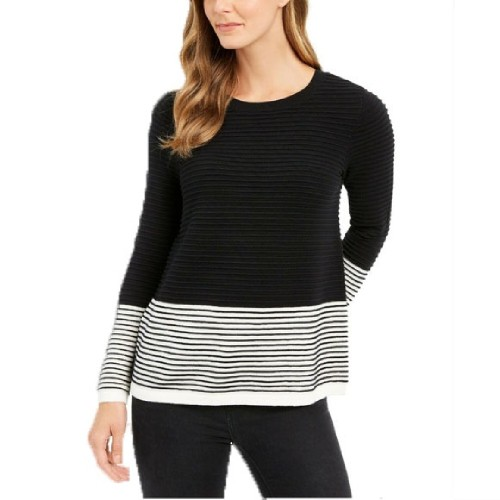 Charter Club Women's Colorblocked Ottoman Sweater Black Size Large
