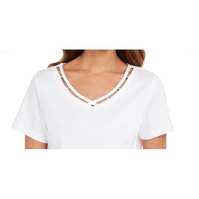 Karen Scott Women's Cotton Open-Trim V-Neck T-Shirt White Size Extra Small