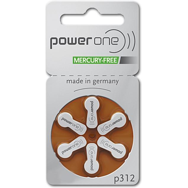 Power One Size 312 PR41 MF Zinc Air Hearing Aid Batteries (60 pack)