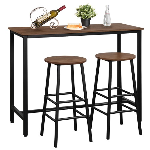 Costway 3 Piece Bar Table Set Pub Table and 2 Stools Counter Kitchen Dining