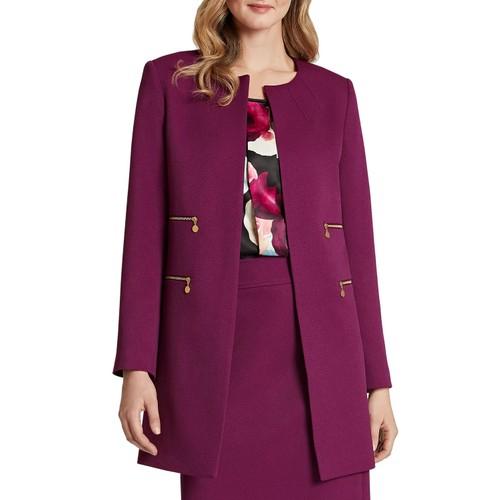 Tahari ASL Women's Zip-Pocket Topper Jacket Purple Size 14