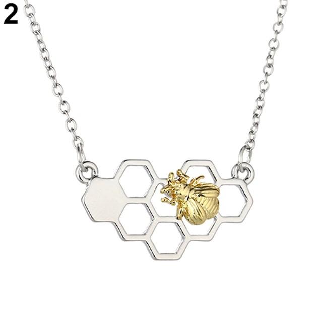 Fashion Honeycomb Bee Animal Pendant Necklace