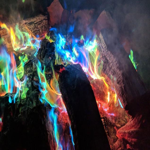 Fire Magic Trick Coloured Rainbow Flames Bonfire Fireplace Pit Patio Toy