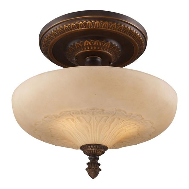 "Restoration Flushes 3 LT Semi Flush In Antique Golden Bronze - 15""H"