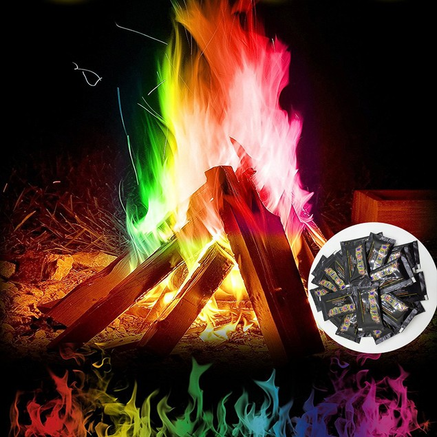 Fire Magic Trick Coloured Rainbow Flames Bonfire Fireplace Pit Patio Toy