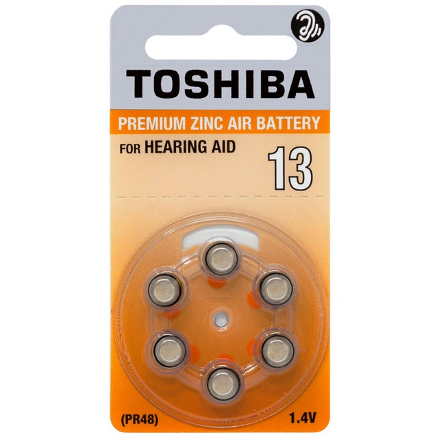 Toshiba Size 13 Zinc Air Hearing Aid Batteries (60 pack)