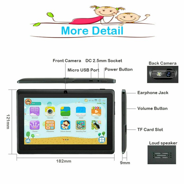 """Android 8.1 7"""" 16GB Quad Core Kids Children Tablet PC Dual Camera HD"""