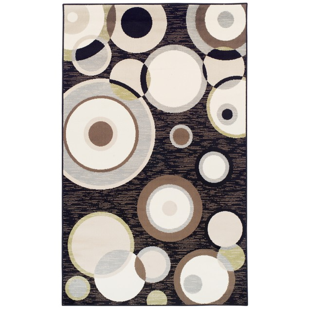 Ringoes Modern Polypropylene Geometric Circles Indoor High Traffic Runner