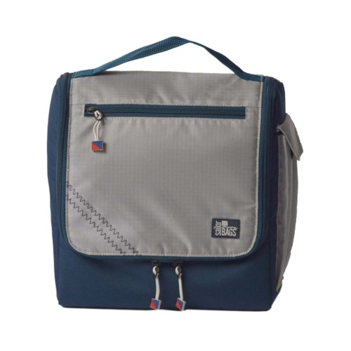SailorBag Silver Spinnaker Insulated Soft Lunch Box, silver w/blue trim