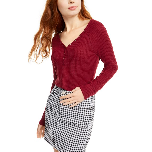 Ultra Flirt Juniors' Cozy Waffle-Knit Henley Top Red Size Medium