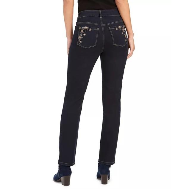 Style & Co Women's Straight-Leg Bling Pocket Jeans Dark Blue Size 6