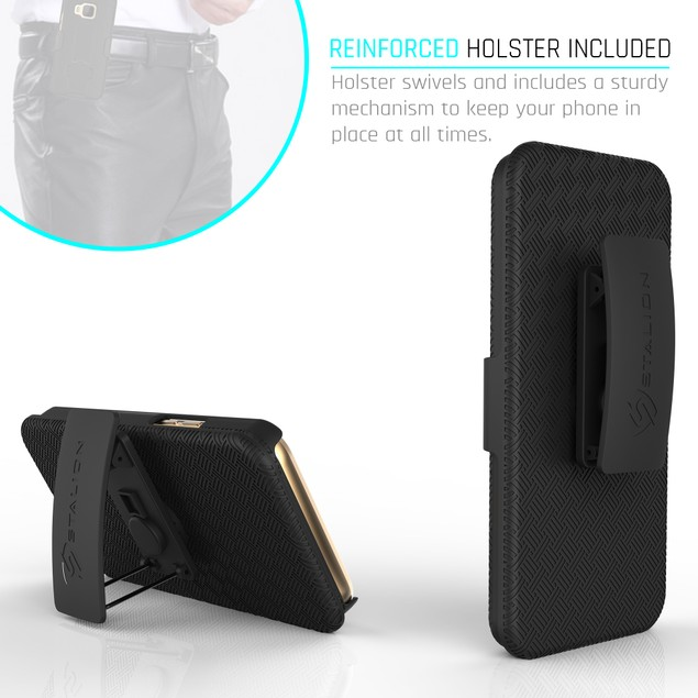 Stalion Secure Belt Clip Holster & Shell Case w Kickstand for HTC One M9