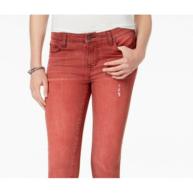 Celebrity Pink Juniors' Colored Distressed Skinny Jeans Dark Red Size 0