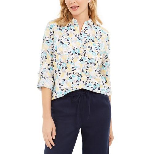 Charter Club Women's Cotton Floral-Print Shirt White Size Small