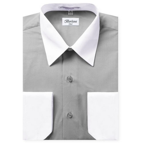 Mens Two-Tone Dress Shirt Light Grey / White Dress Shirt N520