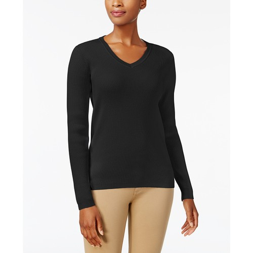 Karen Scott Women's Cotton V-Neck Sweater Black Size Small