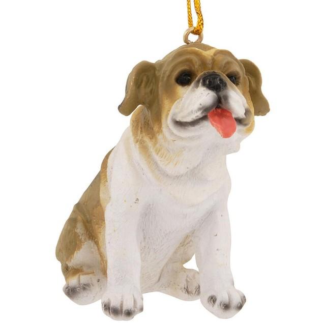 3 Inch Smiling Bulldog Christmas Tree Ornament