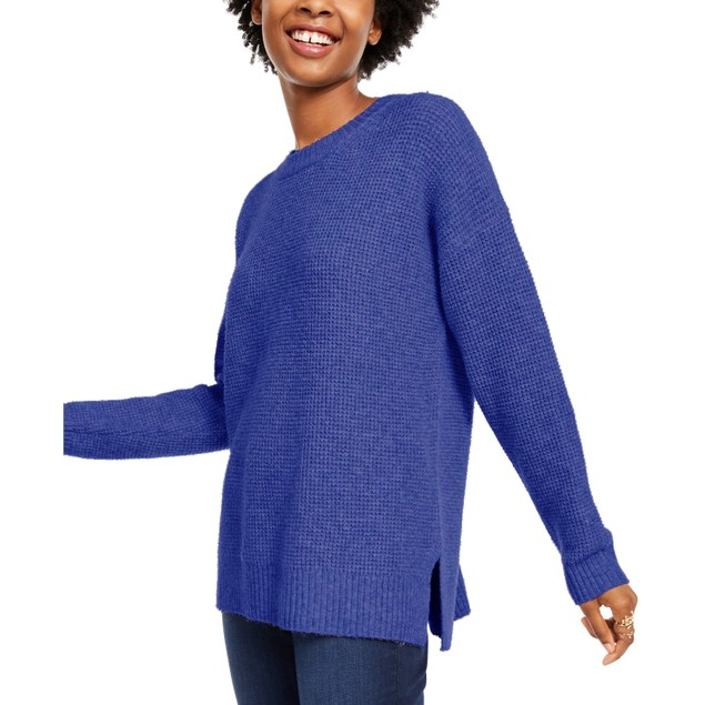 Hippie Rose Juniors' Long-Sleeve Sweater Blue Size Small