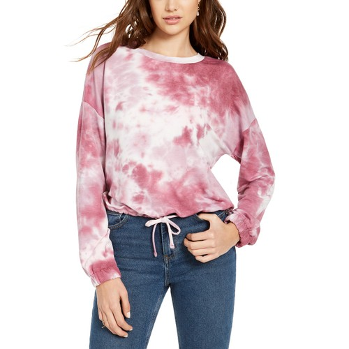 Hooked Up By IOT Juniors' Tie Dye Sweatshirt Pink Size Large