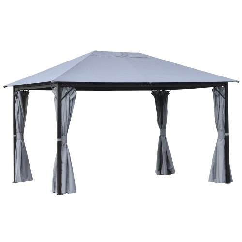 13' x 9.7' Backyard Pergola w/ Steel/Aluminum Frame & Netted Sidewalls