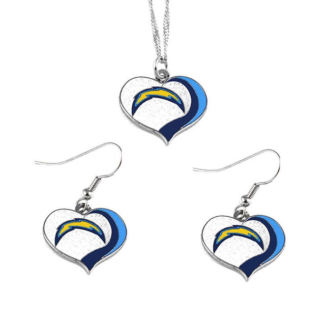 LA Los Angeles Chargers NFL Glitter Heart Necklace and Earring Set