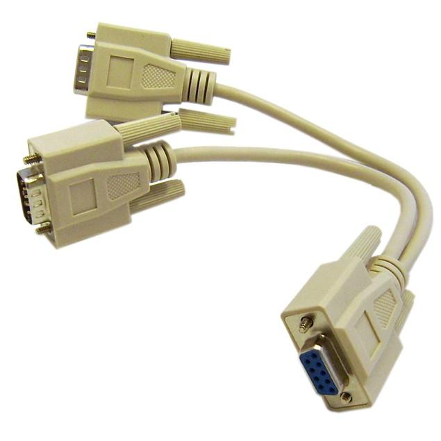 DB9 Serial Y adapter, DB9 Female to Dual DB9 Male, 8 inch