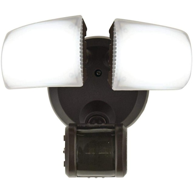 Defiant 180° Bronze Motion Activated Outdoor LED Twin Head Flood Light