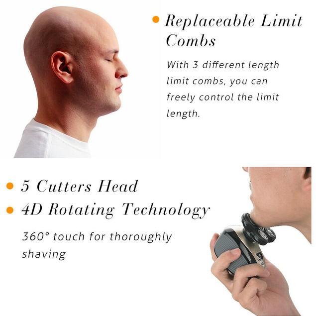 5-in-1 Electric Razor Head Shaver Hair Beard Trimmer Rechargeable for Men