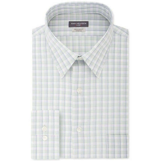 Van Heusen Men's Fresh Defense Slim-Fit Print Dress Shirt Size 17.5X34-35