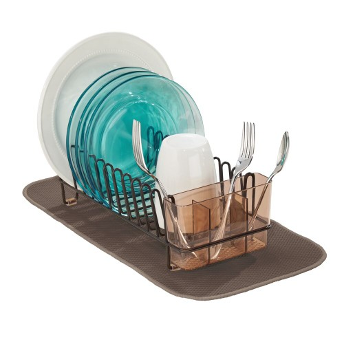 mDesign Kitchen Counter Dish Drying Rack & Microfiber Mat, Set of 2