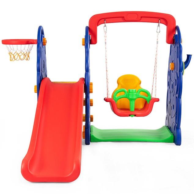 Costway 3 in 1 Junior Children Climber Slide, Swing & Basketball Hoop
