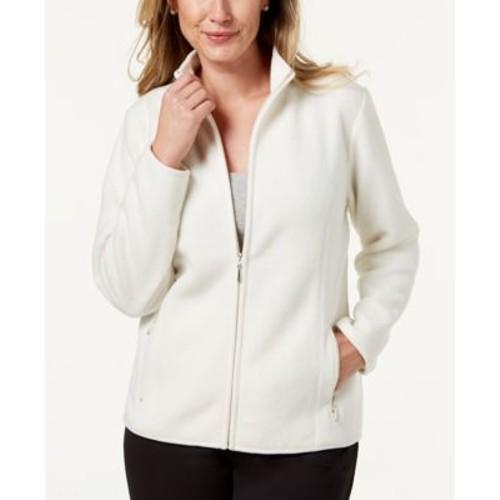 Karen Scott Women's Petite Zeroproof Fleece Jacket White Size Extra Large