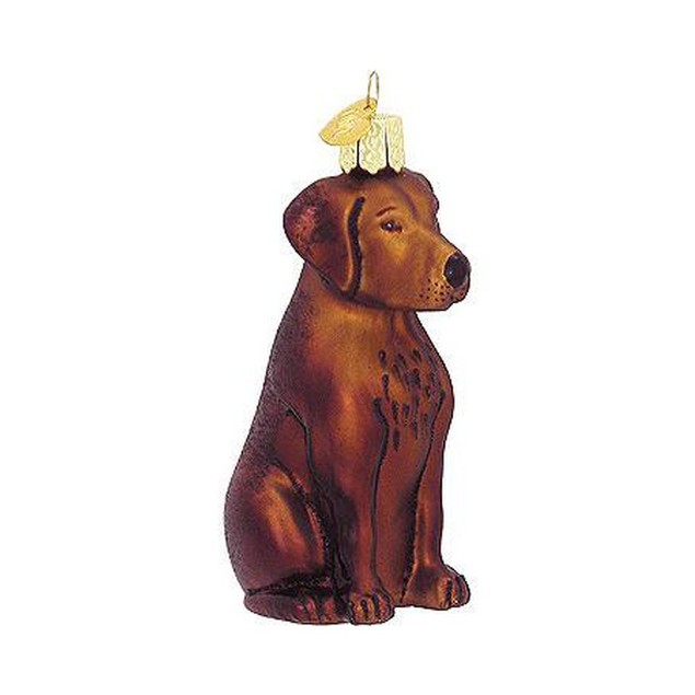 Chocolate Labrador Retriever Glass Christmas Tree Ornament