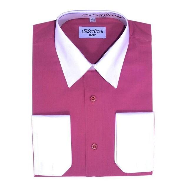Mens Two-Tone Dress Shirt Fuchsia / White Dress Shirt N517