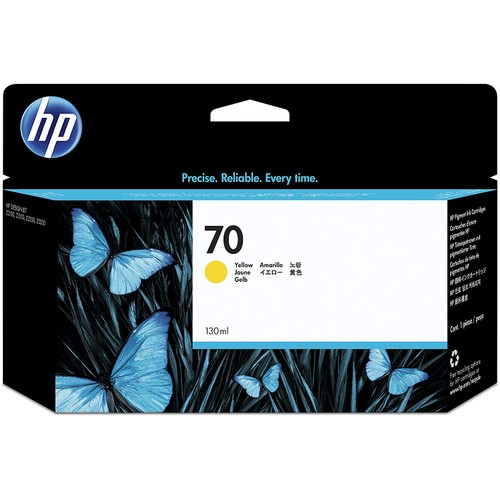 HP 70 Yellow 130-ml Genuine Ink Cartridge (C9454A) for DesignJet Z5400, Z5200, Z3200, Z3100 & Z2100 Large Format Printers - Yellow Printhead