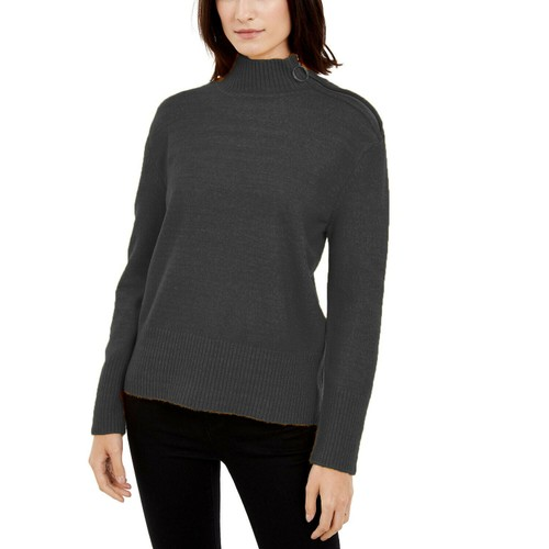 INC International Concepts Women's Side Zip-Up Sweater Black - Size X-Large