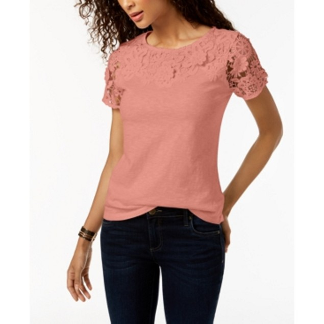Charter Club Women's Cotton Lace Embellished T-Shirt Pink Size Large