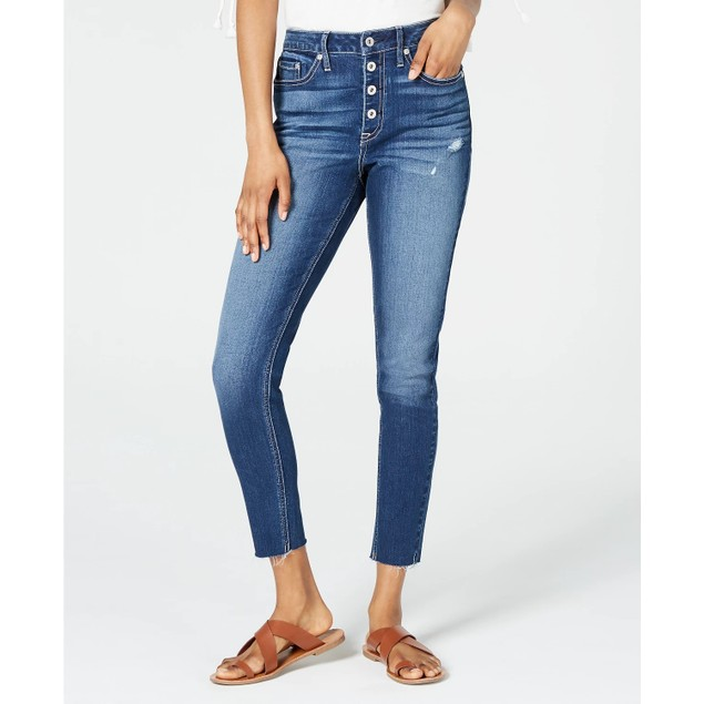 American Rag Juniors' Ripped Button-Fly Skinny Jeans Blue Size 3