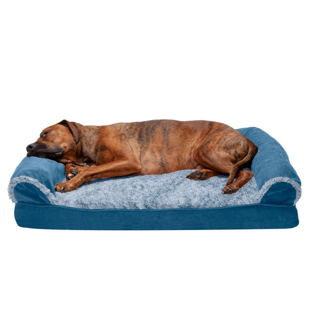 FurHaven Two-Tone Faux Fur & Suede Cooling Gel Orthopedic Sofa Pet Bed