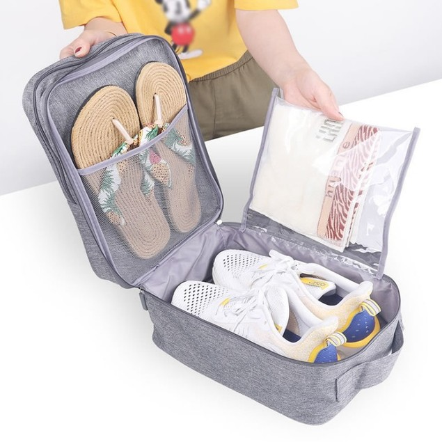 Double Layer Three Waterproof Travel Shoe Bag Storage Bag