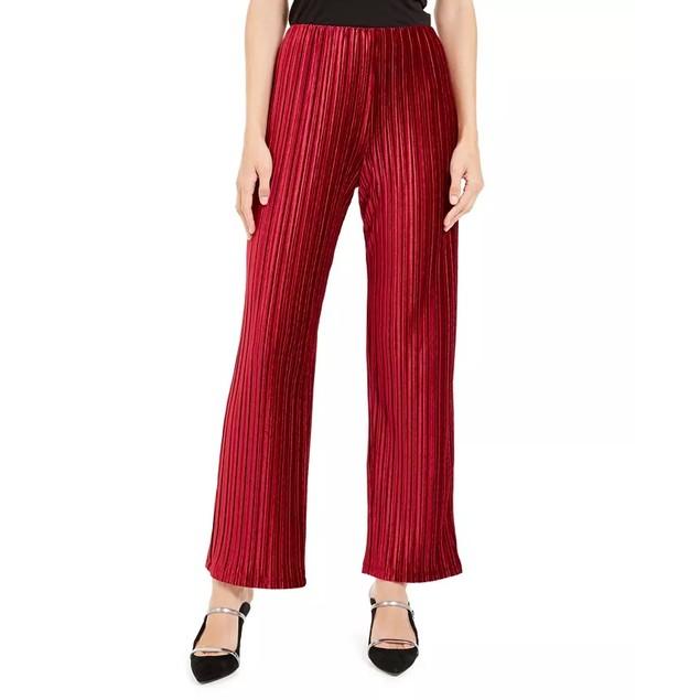 Alfani Women's Velvet Wide-Leg Pants Wine Size Extra Small