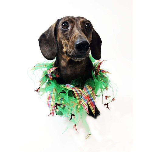 Midlee Plaid and Green Decorative Dog Collar