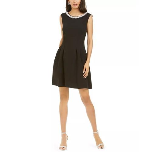 Connected Women's Rhinestone Collar A-Line Dress Black Size 16